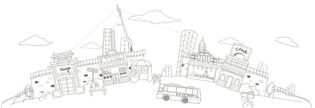 フリーハンドで描いた旅行の絵